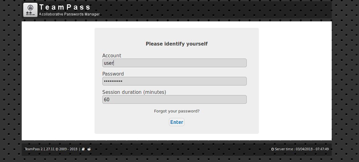 TeamPass - login user