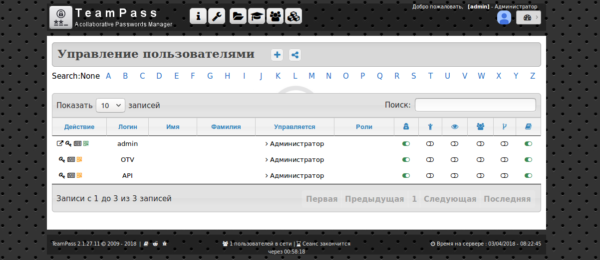 TeamPass - create User